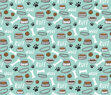 dog bowls // dog accessories bones, dog bone, paw print cute dog illustration pet dog breed pattern fabric by andrea_lauren on Spoonflower - custom fabric
