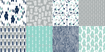 forest bear quilt // square quilt navy mint grey kids nursery baby
