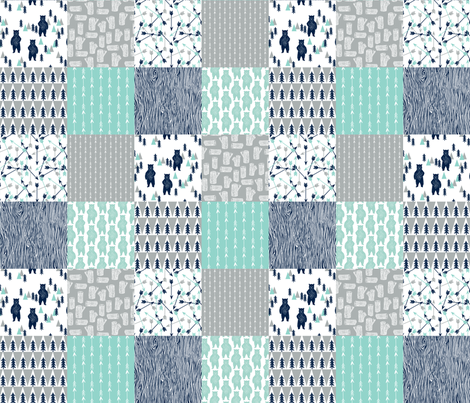 Forest bear quilt square quilt navy mint grey kids for Grey childrens fabric
