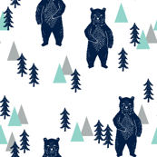 forest bear // navy mint grey kids room boys decor