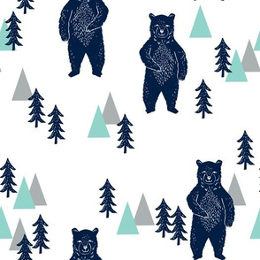 forest bear // navy mint grey kids room boys decor