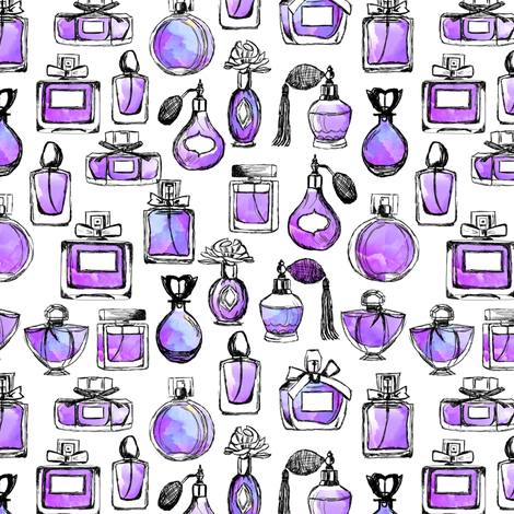 perfume // watercolor purple girls beauty makeup perfume bottles girly fabric by andrea_lauren on Spoonflower - custom fabric