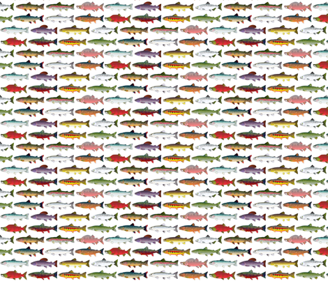 14 Trout and Salmon Pattern fabric by combatfish on Spoonflower - custom fabric
