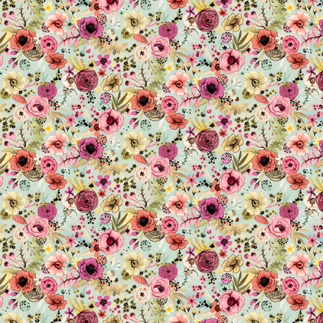 Soft Hand Painted Floral Small Scale by Angel Gerardo fabric by angelger28 on Spoonflower - custom fabric