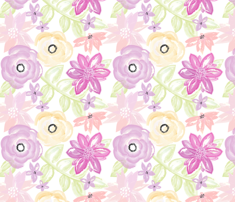 Spring Garden Watercolor Floral in Purple Gold fabric by sugarfresh on Spoonflower - custom fabric