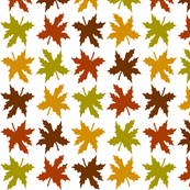 Fall Leaves in Green, Brown, Orange and Red
