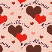 Love Always Brown and Orange Hearts