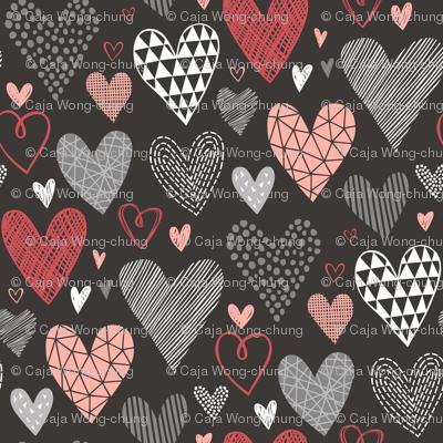 Hearts Geometric Love Valentine Red on Black