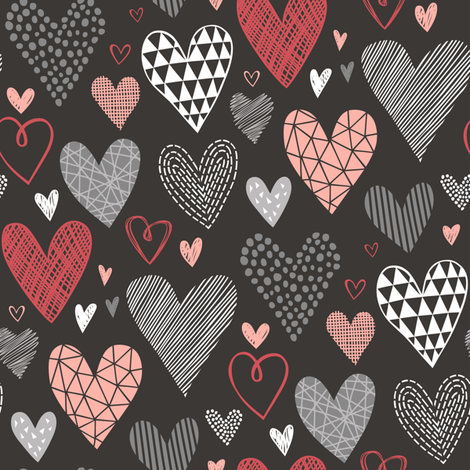 Hearts Geometric Love Valentine Red on Black fabric by caja_design on Spoonflower - custom fabric