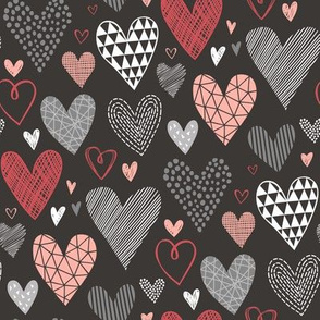 Hearts Geometric Love Valentine Red on Black