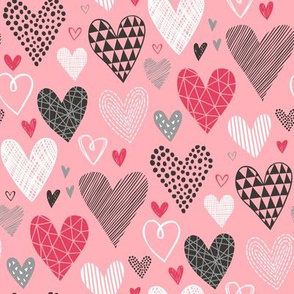 Hearts Geometrical Love Valentine on Pink