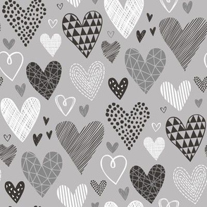 Hearts Geometrical Love Valentine Black&White Red on Grey