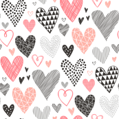 Hearts Geometrical Love Valentine Black&White Peach