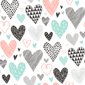 Hearts Geometrical Love Valentine Black&White Mint Peach