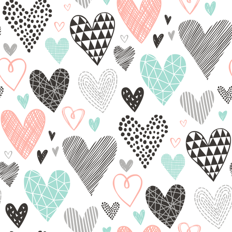 Hearts Geometrical Love Valentine Black&White Mint Peach fabric by caja_design on Spoonflower - custom fabric