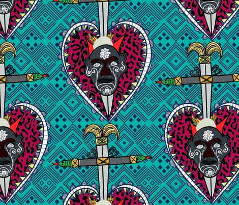 Santeria Turqois  fabric by susiprint on Spoonflower - custom fabric