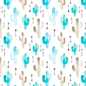 Watercolor cactus illustration indian summer theme with arrows in blue for boys