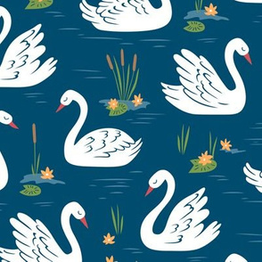 Swans in Blue
