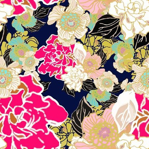 Jungle Passion Floral dark blue background