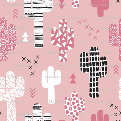 Soft pastel geometric cactus garden with triangles and arrows gender neutral pink black and white