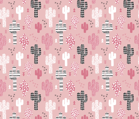 Soft pastel geometric cactus garden with triangles and arrows gender neutral pink black and white fabric by littlesmilemakers on Spoonflower - custom fabric
