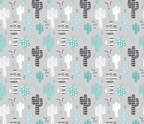 Cool western geometric cactus garden with triangles and arrows gender neutral pastel blue black and white fabric by littlesmilemakers on Spoonflower - custom fabric