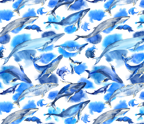 Watercolor whales fabric by achtung on Spoonflower - custom fabric