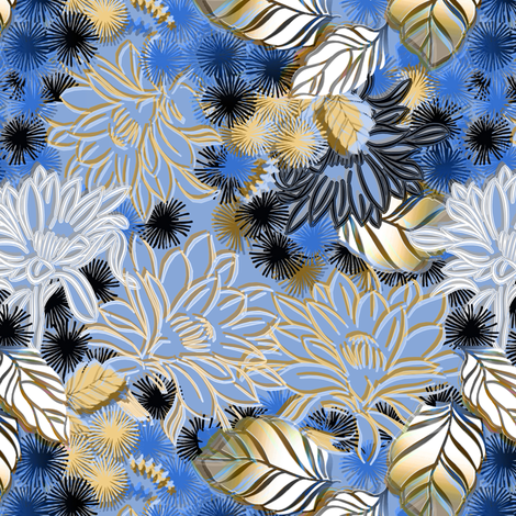 Moonlight Jungle Cereus Cactus Floral fabric by joanmclemore on Spoonflower - custom fabric