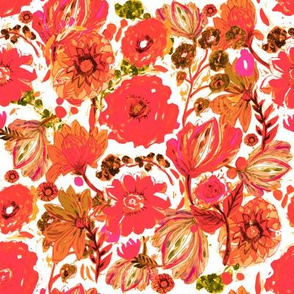 Painted Red Foral
