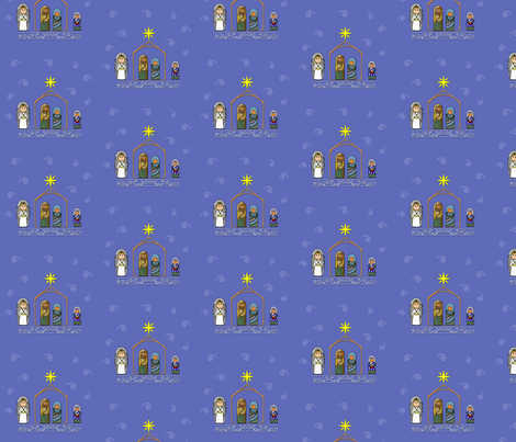 Nativity Fabric and Gift wrap fabric by dreamoutloudart on Spoonflower - custom fabric