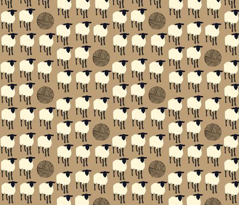 16-09g Sheep Knitting Ball Yarn Barn Farm Black Cream Tan_Miss Chiff Designs fabric by misschiffdesigns on Spoonflower - custom fabric