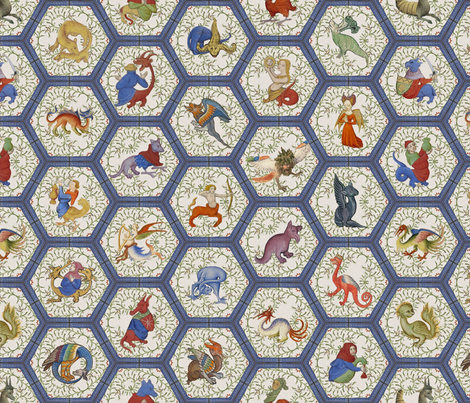 Medieval Creatures - Blue Frame fabric by ameliae on Spoonflower - custom fabric