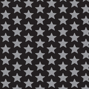 silver stars on black