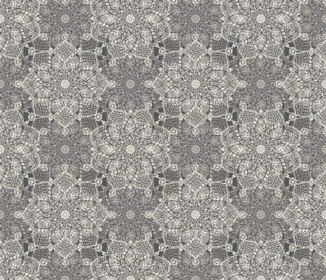 Cream Doodle Medallions on Grey fabric by micklyn on Spoonflower - custom fabric