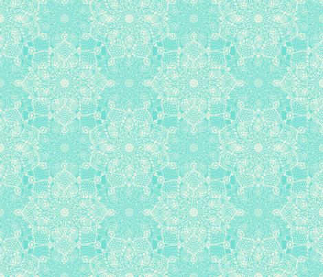 Cream Doodle Medallions On Tiffany Blue Wallpaper