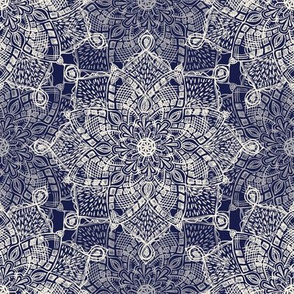 Cream Doodle Medallions on Navy Blue