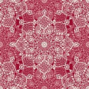 Cream Medallion Doodle on Dark Red