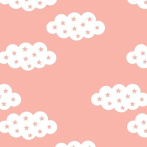 Clouds and stars soft scandinavian retro style night sky theme for kids pastel pink for girls