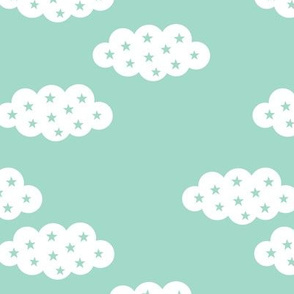 Clouds and stars soft scandinavian retro style night sky theme for kids pastel mint gender neutral