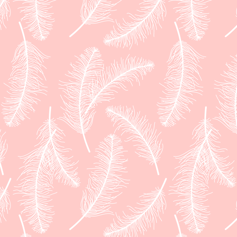 Feathers on pink fabric by heleenvanbuul on Spoonflower - custom fabric