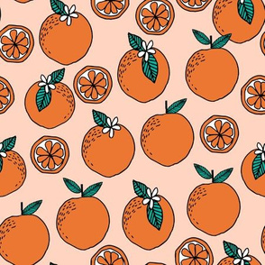 oranges // summer fruit blush peach kids fruit summer exotic florida print
