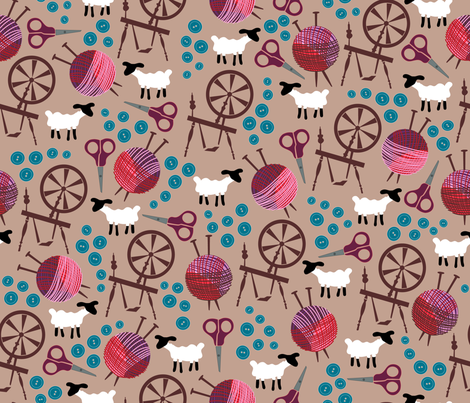Knit and Spin fabric by dearchickie on Spoonflower - custom fabric