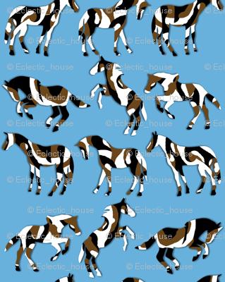 Camouflaged Horses on Blue