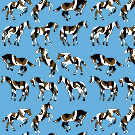 Camouflaged Horses on Blue fabric by eclectic_house on Spoonflower - custom fabric