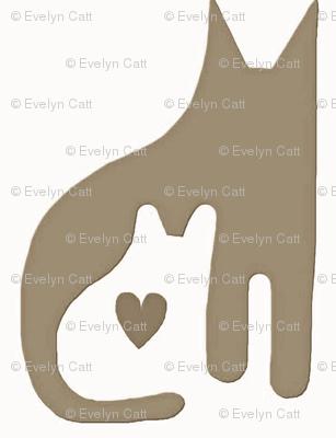 Cat Kitten Heart Taupe White