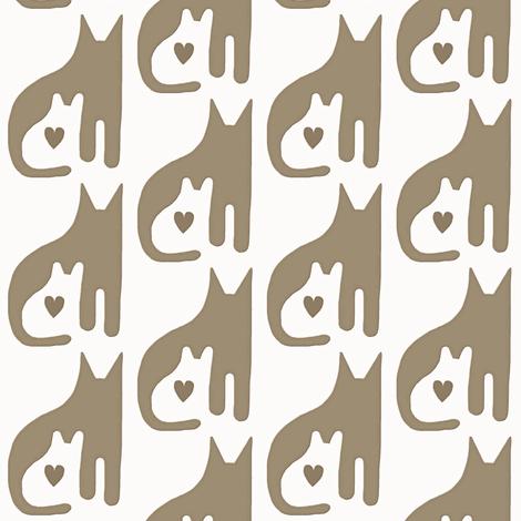 Cat Kitten Heart Taupe White fabric by eve_catt_art on Spoonflower - custom fabric
