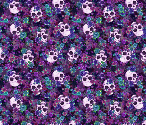 Flowers and Skulls fabric by elladorine on Spoonflower - custom fabric