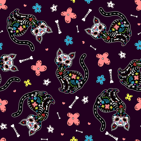 Dia de los Gatos fabric by elladorine on Spoonflower - custom fabric