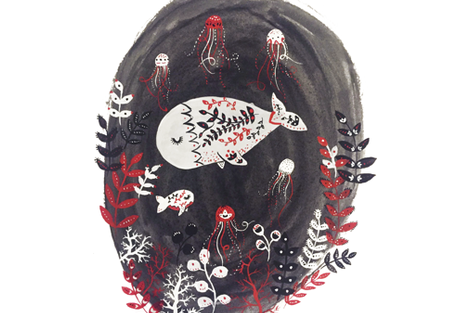 Whale Scene fabric by hikomari on Spoonflower - custom fabric