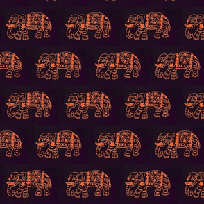 Orange Elephant on Purple/Black background
